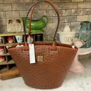 Dooney And Bourke Andie Tote Cognac Brown Ostrich New With Tags 268