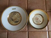 Set Of 2 Art Of Chokin Plates With Peacocks And Flowers/butterflies 24k Gold Trim