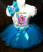 Sofia The First Shirt Name Birthday Party 5th 5 Personalized Turq Tutu Dress