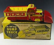 Marx 4-way Dump Lithographed Truck Toy 15'' Original With Box Lumar Company