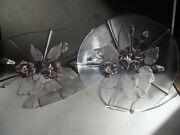 2 Glass Platters Trays Calypso Floral Mikasa Walther Germany Crystal Pink Purple
