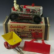 Marx 1950's Climbing Tractor Set Sparkling Tin Mib Windup Toy Red With Box 15