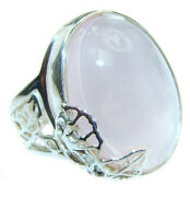 Rose Quartz Ring Size 8 -adjustable 925 Sterling Silver + Free Shipping By Sil