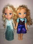 Disney Frozen Anna And Elsa Dolls 13 - Very Good Condition - Free Shipping