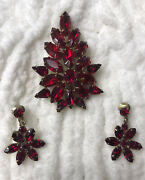 770 Vintage Tammey Jewels Signed Christmas Tree Red Rhinestone Pin And Earrings