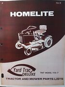 Homelite Yard Trac Deluxe Ytd-7 Lawn Tractor And Mower And Engine Parts 2 Manual S