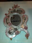 Antique Vintage Murano Glass Etched Mirror Pink Clear Venetian Italy Large 24in