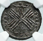 Crispus Son Of Constantine The Great Rare Military Camp Roman Coin Ngc I86036