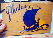 Vintage Wood Photo Album, Viking Longboat And Sunset On Cover, Pages Empty