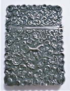 Antique Burma/india Sterling Silver Repousee Card Case W Elephant And Horse