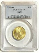 2008-w American Gold 1/4 Oz Eagle 10 Burnished Pcgs Ms70 - Very Rare