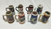 Lot Of 8 Budweiser Holiday Christmas Beer Stein Collection 1989-2003