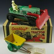 Marx 1950's Climbing Tractor Set Sparkling Tin Mib Windup Toy Red With Box 17