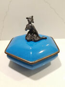 Vintage Germany Blue Vanity Jar With Lid Lady Powder Box Container Rare