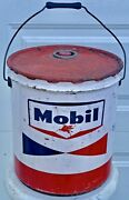 Vintage Mobil Pegasus Red White Blue 5 Gallon Gas Motor Oil Can Service Station