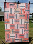 Pretty In Pink Quilt New 39x62. Pinks Reds Corals With Modern Gray Accent