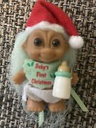 Rare Vintage Russ Troll Doll Babyandrsquos First Christmas Bib And Bottle Diaper Hat