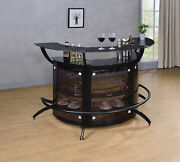 Modern Contemporary Black 2-shelf Curved Bar Wine Cabinet Tableandnbspwith Glass Top