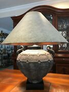 Vintage Large Chinese Archaistic Patina Metal Vase Table Lamp W/handles, 20 T