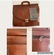 Vintage Tumi Brown /cognac Leather Attache Satchel Brief Case Made In Italy Mens