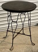 Rare Antique 1920s Royal Chicago Products Co 24andrdquo Wrought Iron Round Parlor Table