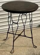 """Rare Antique 1920s Royal Chicago Products Co 24"""" Wrought Iron Round Parlor Table"""