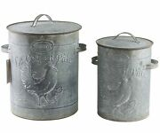 Rooster Chicken Nested Metal Canisters Set 2 French Country Farmhouse Storage