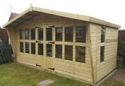 16x10 Summerhouse +2ft Canopy +tapered Sides 19mm T/g Tan 3x2 Cls Frame