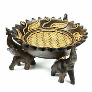 Rejoicing Elephant Leaves Carved Rain Tree Circular Wooden Tray