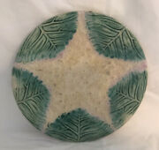 Antique Etruscan Majolica Leaves Makes Center Star Plate Late 1800s Stamped