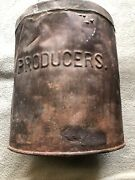 """Vintage Metal Milk Can 13"""" Tall Says Producers"""
