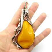 Huge And Super Awesome Natural Butterscotch Amber Sterling Silver Pendant 5 Inches