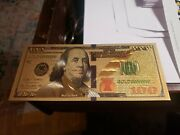 Beautiful Gold Foil 100 Bill No Cash Value. Intended For Collectors Only