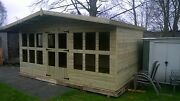 16x10 Summerhouse Apex +2ft Canopy 19mm T/g Tan 3x2 Cls Frame 13mm T/g Roof