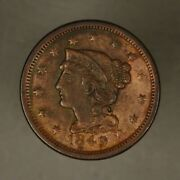 1849 Large Cent Nice Detail Old Cleaning
