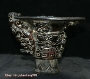 Old Chinese Ox Horn Hand Carving Chi Dragon Beast Statue Cup Mug Calix Tumbler