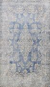 Muted Semi Antique Kirman Hand-knotted Distressed Area Rug Evenly Low Pile 10x13