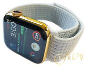 Custom 24k Gold Plated 44mm Apple Watch Series 6 White Loop Band Lte+blood O2