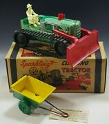 Marx 1950's Climbing Tractor Set Sparkling Tin Mib Windup Toy Green With Box 20