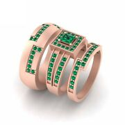 Lab Created Approx 1.20cttw Green Emerald Engagement Ring Band Set Couple Rings