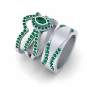 Green Emerald Engagement Ring Band Set His And Her Matching Couple Wedding Rings