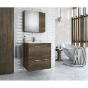 Walnut Wood Floating Vanity With Integrated Porcelain Sink 30 Inches
