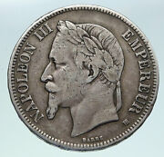 1870b France Emperor Napoleon Iii Antique Arms Silver 5 Franc French Coin I86352