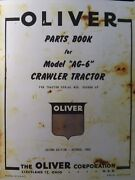 Oliver Cletrac Dozer Crawler Tractor A Ag-6 Ag-6h Parts Manual F-226 Engine Gas