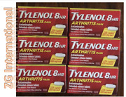 6 Pack Of Tylenol 8 Hour Arthritis Joint Pain Tablets 6 X 225 Ct Exp 2023