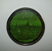 Old Antique Vtg 19th C 1840s Paper Mache Snuff Box View Of The City Of London