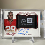 2014 National Treasures Carlos Hyde Hats Off Autographed New Era Patch 1-of-1 Rc