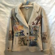 The Trail Of Painted Ponies Horses Faux Leather Sherpa Lined Boho Coat Sz. S