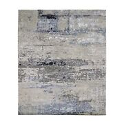 8and039x9and0399 Gray Abstract Design Wool And Silk Hand Knotted Oriental Rug R59303