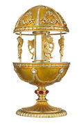 Decorative Faberge Egg / Music Box Carousel With Angels 7.1'' 18cm Yellow